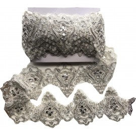 Dentelle perlée argentée X 50 cm