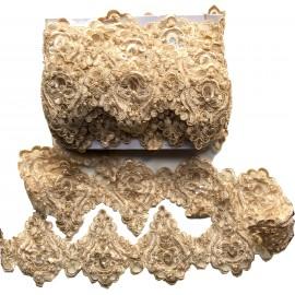 Dentelle perlée beige X 50 cm